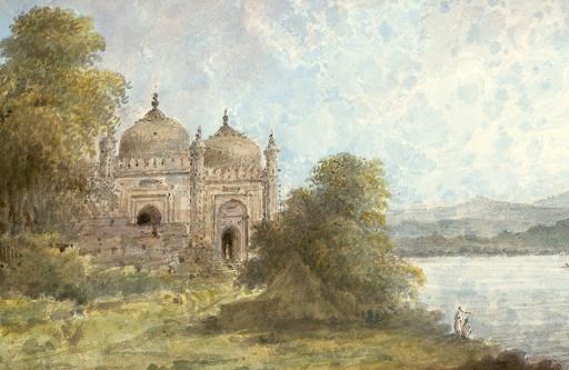 Mosquée d'Akbar à Jharkhand en Inde, peinture de 1804.