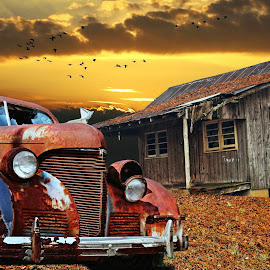 Abandoned by JEFFREY LORBER - Transportation Automobiles ( jeffrey lorber, rust, sunset, rusted car, cabin, lorberphoto, old car,  )