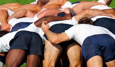 Photo: French rugby players practice a scrum during a team training session at the Rugby Union National center in Marcoussis, south of Paris, Wednesday, Sept. 12, 2007. France are preparing for their upcoming Rugby World Cup Group D match against Namibia in Toulouse on Sunday, Sept. 16. (AP Photo/Christophe Ena)