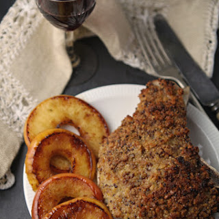 Mustard-crusted Pork Chops With Caramelised Apple Rings.