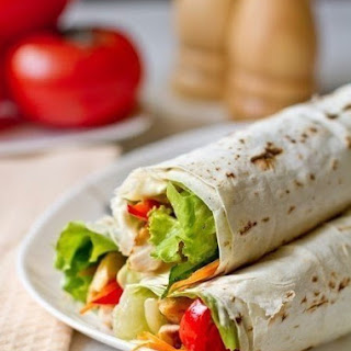 Roll From Lavash With Chicken And Vegetables