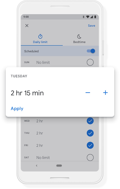 A Google phone screen showing the Bedtime schedule for the device being set for 9:30pm to 7:30am.