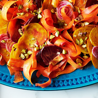 Beet and Carrot Salad with Curry Dressing and Pistachios