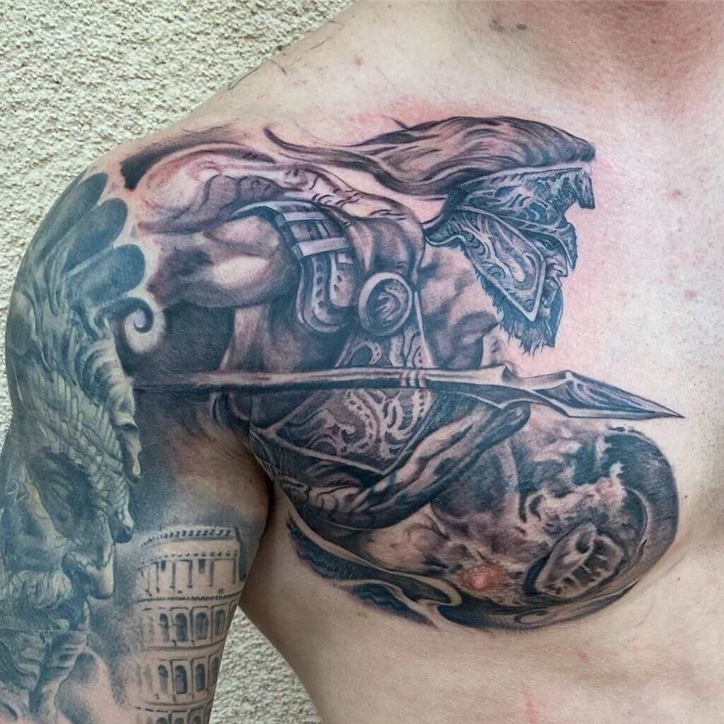 spartan tattoo on chest ideas