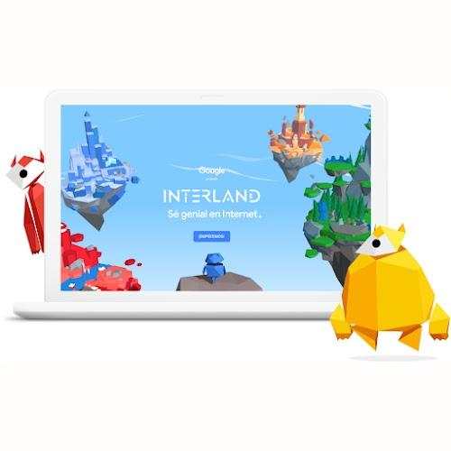 La pantalla de una laptop en la que se ve Interland con reinos flotantes en el cielo y dos personajes armados con formas geométricas.