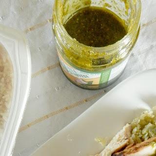 Healthy Grilled Chicken over Pesto Cauliflower Rice.