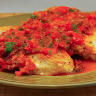 Sauteed Chicken Breasts with Warm Tomato-Tarragon Salsa.