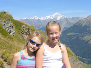 Photo: Mils and Katie with Mont Blanc in the background
