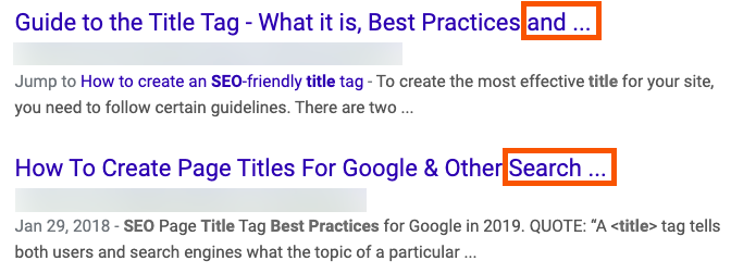 truncated title tags in google search