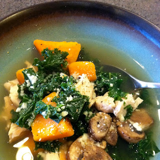 Chicken Soup with Sweet Potatoes, Kale and Mushrooms.