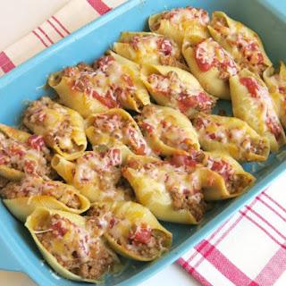 Taco Filled Pasta Shells.