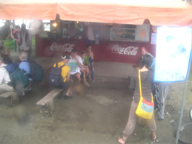 Photo: the bus stop in puerto viejo. it is raining!
