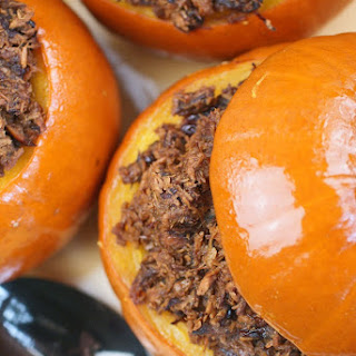 Slow Cooker Cranberry Pulled Pork in Sugar Pumpkins