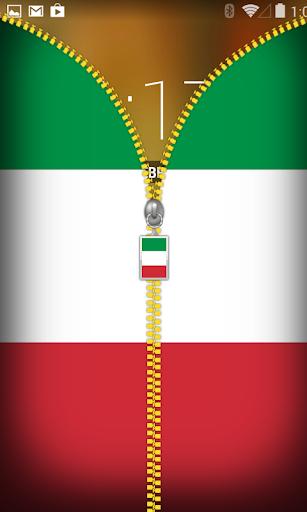 Italy Flag Zipper Lockscreen