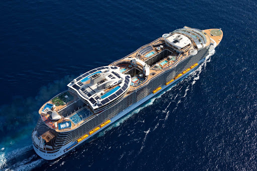 symphony-of-seas-flyover.jpg - An aerial of the 5,518-passenger Symphony of the Seas, the world's largest cruise ship.