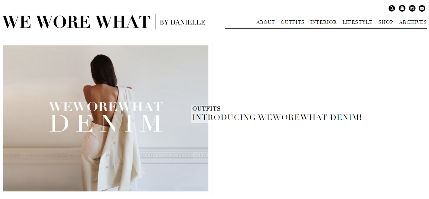Homepage of We Wore What Fashion Brand