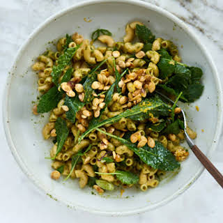 Pasta with Baby Kale, Toasted Pumpkin Seeds, and Pesto.