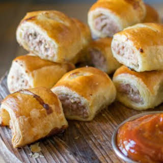 Mini Pork, Apple & Sage Sausage Rolls With Curry Ketchup.
