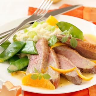 Entenbrust mit Orangensauce und Selleriepüree