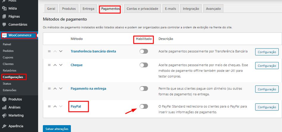 configurações de pagamento online do PayPal pelo WordPress