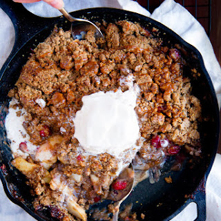 Cranberry Bourbon Apple Crisp with a Salted Caramel Sauce