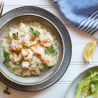 Shrimp And Lemon Risotto With Romaine Salad