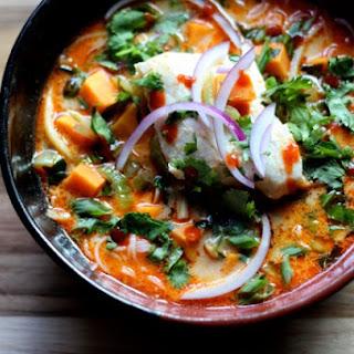 Thai Curry Noodle Soup with Halibut Recipe