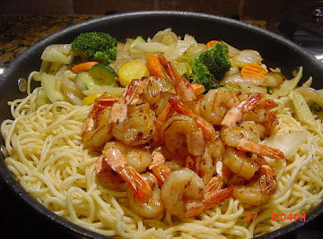 Asian Shrimp Noodle Skillet Recipe
