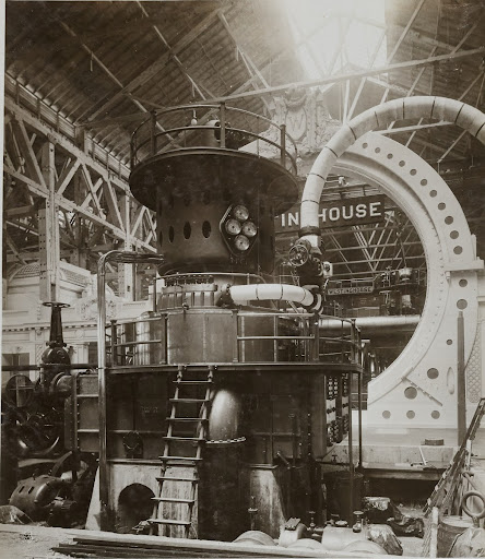 2000kw, 750rpm, form F2, 4-stage Curtis turbine direct connected to ATB-4-2000-750-6600 volt, form T generator, Machinery Hall, St. Louis World's Fair, Louisiana Purchase Exposition