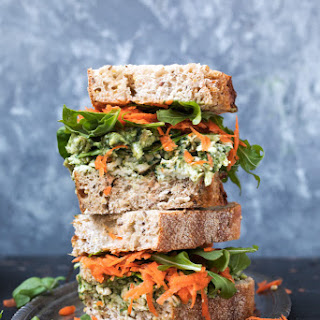 Healthy Pesto Avocado Chicken Salad Sandwiches.