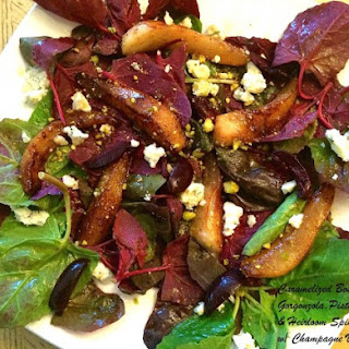 Pear, Gorgonzola, Pistachio and Spinach Salad