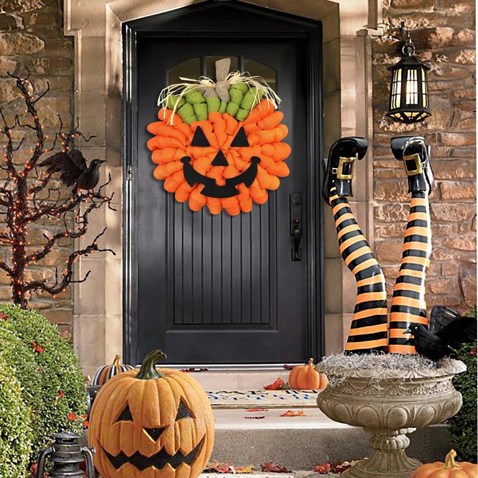 Halloween Decoration Ideas with Pumpkin Wreaths