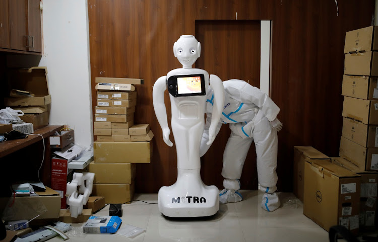 A Mitra robot is put on charge at a hospital in Noida, on the outskirts of New Delhi. Picture: REUTERS/ADNAN ABIDI