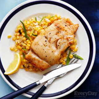 Butter-Basted Cod with Tarragon Corn.