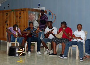 Photo: On our first night, we were fortunate enough to be invited to a dinner where these kids were playing traditional music.