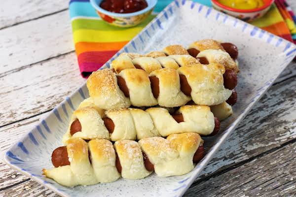 A Platter Of Homemade Pigs In A Blanket.
