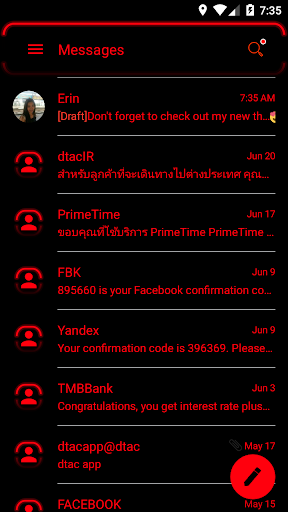 sms messages neon led red theme screenshot 3