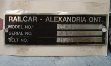 Photo: Our CBL's Builder Plate...stored, but not forgotten! Duncan had removed this from the CBL because rail car name plates have a habit of being stolen.  Plate reads as follows:  RAILCAR - ALEXANDRIA ONT. MODEL NO. CBL SERIAL NO. A198 BELT NO. 6303  Photo by J. Loucks
