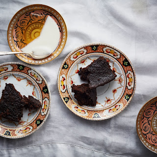 Dark Ginger Rye Cake with Yogurt and Honey.