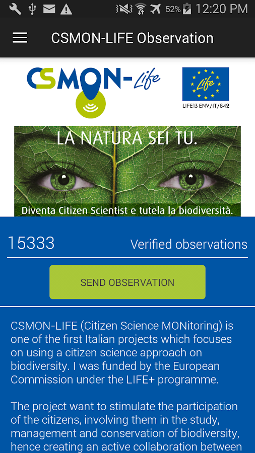 CSMON-LIFE Observation- screenshot