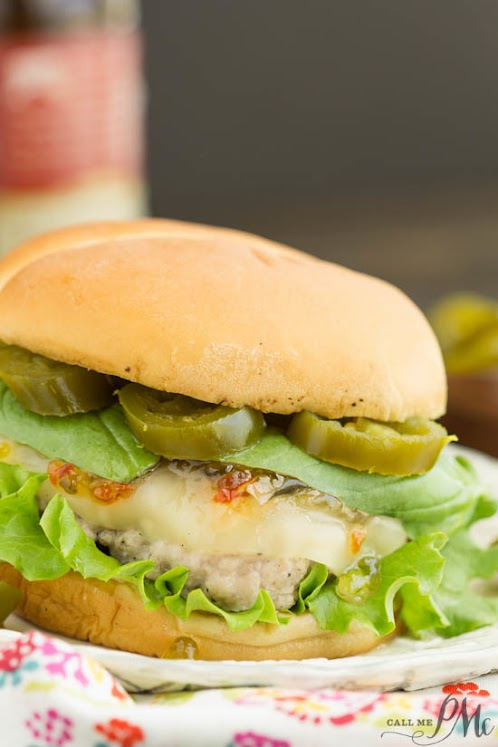 Spicy Jalapeno Pepper Jelly and Basil Sauce Pork Burgers