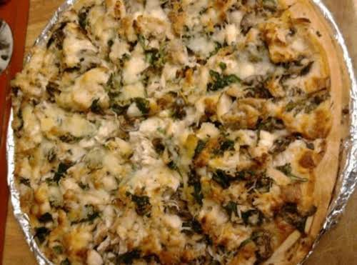 "Chicken Alfredo Pizza Recipe ""This was really delicious! My family loved it!! I..."