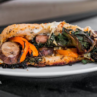Smoked Stuffed Chicken Breast with Kale & Peppers.