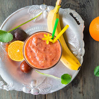 Plum, Banana and Orange Smoothie.
