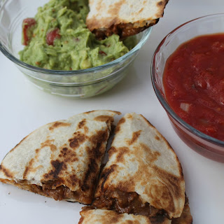 Quick and Easy Cheesy Beefy Quesadillas.