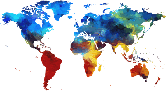 A map of the world showing each country in a different color for a different foreign language