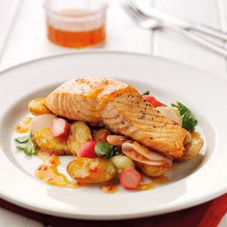 Roast Salmon with Potatoes, Sweet Chili and Pickled Cucumber