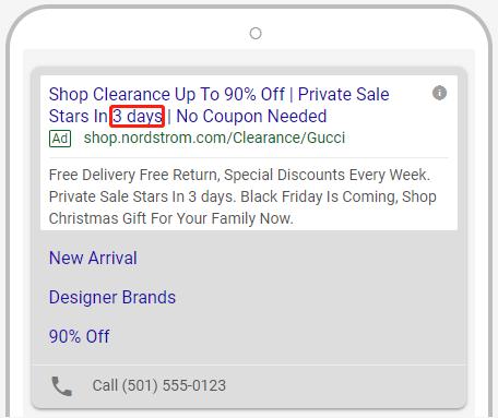 CenterRock - Google Ads Countdown Function