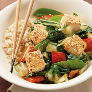 Sesame-Crusted Tofu over Vegetables