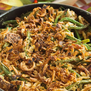 Green Bean & Mushroom Casserole with Fried Onions.